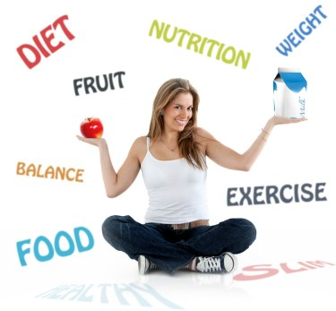Beautiful woman smiling with diet and nutrition words on the background